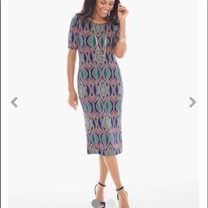 Chico's travelers mosaic stretch dress size 2